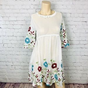 Dresses & Skirts - Embroidered Sheer White Mesh Tunic Top Dress M/L